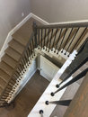 Stairway with carpet from first floor to second floor Royalty Free Stock Photo