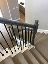 Stairway cover carpet from first floor to second floor Royalty Free Stock Photo