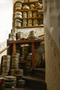 Stairway full of film boxes with stacked metal Royalty Free Stock Photo