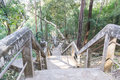 The stairway for going up and down the hill banister in rural thailand Royalty Free Stock Photo