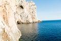 The stairway leading to the Neptune`s Grotto, in Capo Caccia cliffs, near Alghero, in Sardinia, Italy