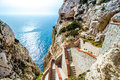The stairway leading to the Neptune's Grotto,near Alghero, in Sa Royalty Free Stock Photo