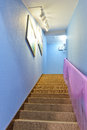 Stairway with led light in house lit up by Royalty Free Stock Photo