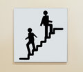 Stairway sign a indicating the location of Stock Images