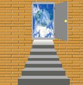 Stairway to door skyward Royalty Free Stock Photos