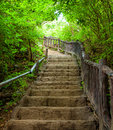 Stairway to forest erawan national park kanchanburi thailand Royalty Free Stock Image
