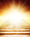 Stairway to heaven leading up bright light Stock Images