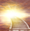Stairway to heaven leading up bright light Stock Photography