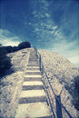 Stairway to heaven up the peak and deep blue sky Royalty Free Stock Photo
