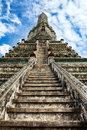 Stairway to heaven at wat arun landmark and no tourist attractions in thailand or temple of the dawn is a buddhist temple the Royalty Free Stock Images