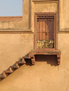 Stairway to locked sandstone door Royalty Free Stock Photo