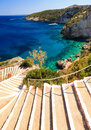 Stairway to the sea beautiful view of stairs at blue caves on island zakynthos Royalty Free Stock Photos