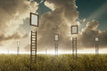 Stairway to sky many stairways in a meadow suspended frame Royalty Free Stock Photography
