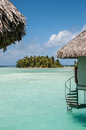 Stairway to the water overwater bungalows in bora bora with directly Royalty Free Stock Photography