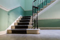 Stairway in vintage historic apartment house in Edinburgh in day Royalty Free Stock Photo
