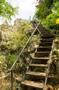 Stairway walks on the uphill at wat chalermprakiat at lampang province thailand Stock Photo