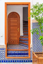 Stairwell in a courtyard in a Moroccan riad Royalty Free Stock Photo