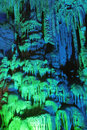Stalactite the close up of and stalagmite in ludi cave in guilin guangxi china Royalty Free Stock Photos