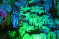 Stalactite the close up of and stalagmite in ludi cave in guilin guangxi china Stock Photo