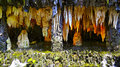 Stalactites and stalagmites natural formation of enhanced with artificial lighting at baomo garden china Royalty Free Stock Photos
