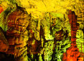 Stalagmites in the psychro cave cave of zeus on the crete island in greece Royalty Free Stock Photos