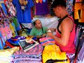 Stall owner selling clothes in taytay rizal philippines bazaar different asia Stock Photography