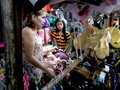Stall owner selling clothes in taytay rizal philippines bazaar different asia during christmas rush Royalty Free Stock Images