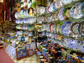 Stalls with colorful pottery, Grand Bazaar, Istanb Stock Images