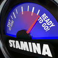Stamina fuel gauge drive power energy increase the word on a measuring your or passion level for rising to complete a task or Royalty Free Stock Photography