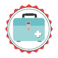 Stamp border with colorful briefcase kit first aid