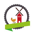 Stamp border with colorful silhouette windmill and hen with label