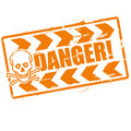 Stamp danger with a skull and save your live Royalty Free Stock Photo