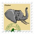 Stamp with elephant Royalty Free Stock Photo