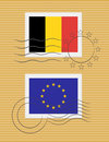 Stamp with flag of Belgium Royalty Free Stock Images