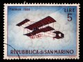 Stamp issued in San Marino shows Henri Farman H.F.III biplane 1909, Vintage Aircraft Series Royalty Free Stock Photo