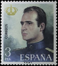 Stamp king juan carlos of spain printed in representing i in a collection in homage his coronation that year value pesetas Royalty Free Stock Images