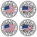 Stamp with map, flag of the USA. Made in the USA. Royalty Free Stock Photography