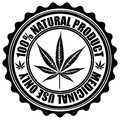 Stamp with marijuana leaf emblem. Cannabis leaf silhouette symbo Royalty Free Stock Photo