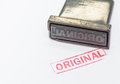 Stamp original the old and red text Stock Images