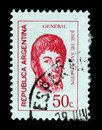 Stamp printed in the Argentina shows Jose de San Martin Royalty Free Stock Photo