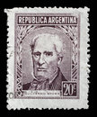 Stamp printed Argentina in shows portrait of Admiral Guillermo Brown Royalty Free Stock Photo