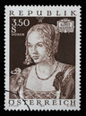 Stamp printed by Austria, shows Art Treasures in Austria, Venice Girl by Albrecht Durer Royalty Free Stock Photo