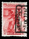 Stamp printed in Belgium shows Box-shipper Royalty Free Stock Photo
