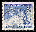Stamp printed in Chile from the `World Skiing Championships - Chile 1966` issue shows Skier crossing slope Royalty Free Stock Photo