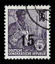 Stamp printed in GDR, shows a worker Royalty Free Stock Photo