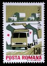 Stamp printed in Romania shows Tent camp and ambulance of the Red Cross, Plight of the Danube flood victims Royalty Free Stock Photo