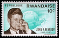 Stamp printed by Rwanda, shows John Fitzgerald Kennedy Royalty Free Stock Photo