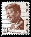 Stamp printed by United States shows President John Kennedy Royalty Free Stock Photo