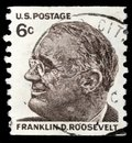 Stamp printed in United states, image of portrait Franklin Roosevelt Royalty Free Stock Photo