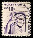 A stamp printed in the USA shows Contemplation of Justice Royalty Free Stock Photo